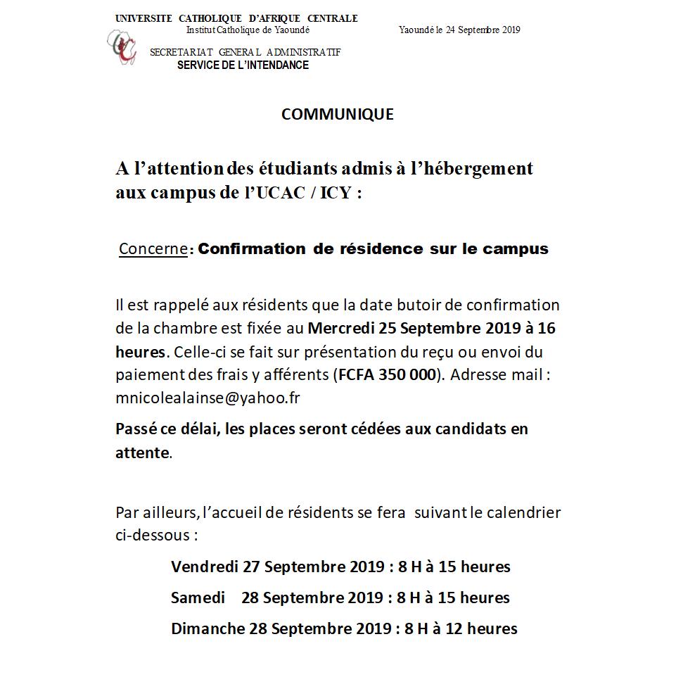 Communiqué Accueil résidents 2019