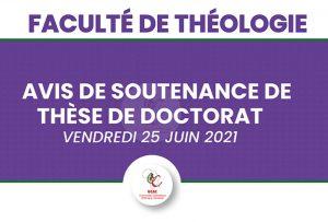COMMUNIQUE - AVIS DE SOUTENANCE DE THESE DE DOCTORAT