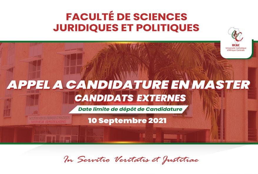 Admission des Candidats Externes en cycle de Master de la Faculté de Sciences Juridiques et politiques