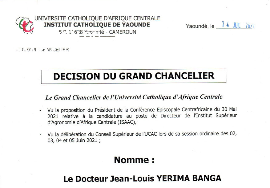 Un nouveau Directeur à l'Institut Supérieur d'Agronomie d'Afrique Centrale à Bangui (RCA)