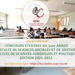 Concours d'entrée en 1ere année FSSG / FSJP édition 2021-2022 (inscription en ligne)