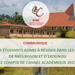 liste des étudiants admis à résider dans les campus de nkolbisson et d'ekounou pour le compte de l'année académique 2021 / 2022