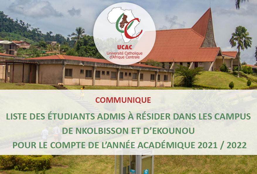 Liste des étudiants admis à résider dans les campus de Nkolbisson et Ekounou – Année académique 2021 / 2022