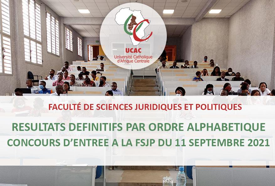 Résultats définitifs du Concours d'entrée a la FSJP du 11 Septembre 2021